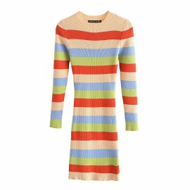 Women's Striped Round Neck Long-sleeved Tight-fitting Knitted Dress Nihaostyles Clothing Wholesale NSAM77790