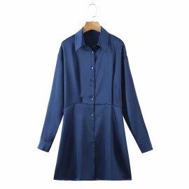 Women's Slim-fit Lapel Long-sleeved Satin Shirt Dress Nihaostyles Clothing Wholesale NSAM77792