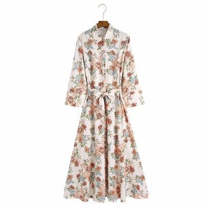 Women's Printed Poplin Long Sleeve Shirt Dress Nihaostyles Clothing Wholesale NSAM77803