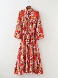Women's Waist Watermark Chain Printing Lapel Long Sleeve Shirt Dress Nihaostyles Clothing Wholesale NSAM77811