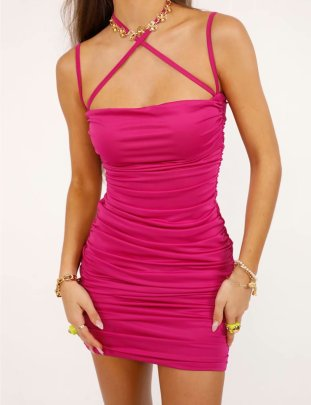 Women's Solid Color Multi-strap Cross Halter Dress Nihaostyles Clothing Wholesale NSAM77815