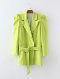 Women's Belt Drape Solid Color Blazer Nihaostyles Clothing Wholesale NSAM77817