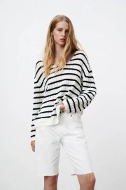 Women's V-neck Striped Sweater Nihaostyles Clothing Wholesale NSAM77818