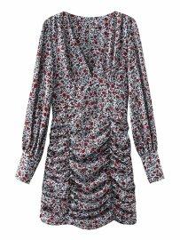 Women's Floral V-neck Lantern Puff Sleeve Dress Nihaostyles Clothing Wholesale NSAM77822