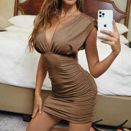 Women's V-neck Pleated Backless Sleeveless Dress Nihaostyles Clothing Wholesale NSXPF77826