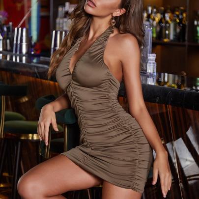 Women's Halter Neck Sleeveless Backless V-neck Slim Pleated Skirt Nihaostyles Clothing Wholesale NSXPF77827