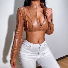 women's long-sleeved ultra-short zipper leather short jacket nihaostyles clothing wholesale NSXPF77838