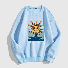 Women's Sun Head Letter Pattern Round Neck Long-sleeved Sweatshirt Nihaostyles Clothing Wholesale NSGMX77854