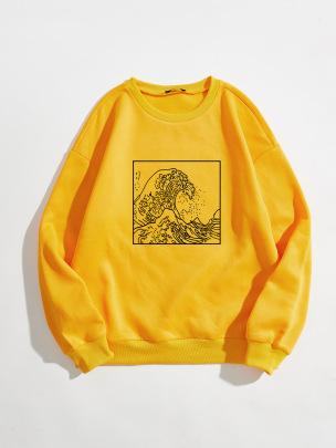 Women's Wave Pattern Printing Round Neck Long-sleeved Sweatshirt Nihaostyles Clothing Wholesale NSGMX77856