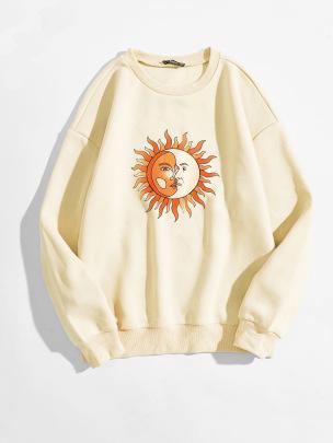Women's Sun And Moon Meeting Pattern Printing Round Neck Long-sleeved Sweatshirt Nihaostyles Clothing Wholesale NSGMX77860
