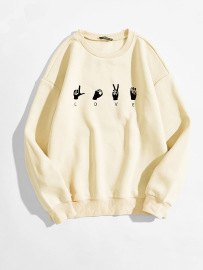 Women's Gesture LOVE Pattern Printing Round Neck Long-sleeved Sweatshirt Nihaostyles Clothing Wholesale NSGMX77863