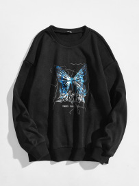 Women's Blue Butterfly Letter Printing Round Neck Long-sleeved Sweatshirt Nihaostyles Clothing Wholesale NSGMX77866
