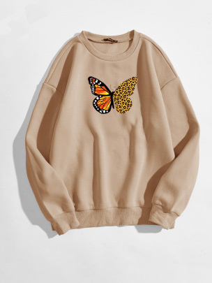 Women's Butterfly Two-color Wings Pattern Printing Round Neck Long-sleeved Sweatshirt Nihaostyles Clothing Wholesale NSGMX77871