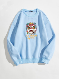Women's Lion Letter Printing Round Neck Long-sleeved Sweatshirt Nihaostyles Clothing Wholesale NSGMX77872