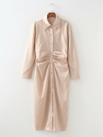 Women's Lapel Long Sleeves Breasted Waist Pleated Shirt Dress Nihaostyles Clothing Wholesale NSAM77881