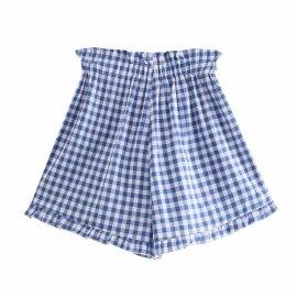 Women's Country Pastoral Retro Square Plaid Cotton Shorts Nihaostyles Clothing Wholesale NSAM77883