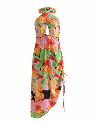 Women's Pleated Printing Mid-length Halterneck Dress Nihaostyles Clothing Wholesale NSAM77885
