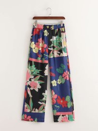 Women's Elastic High Waist Printing Wide Leg Straight Pants Nihaostyles Clothing Wholesale NSAM77888