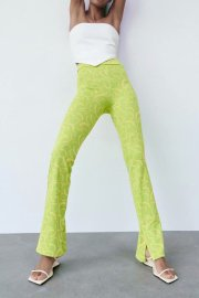 Women's Fluorescent Green Printed Trousers Nihaostyles Clothing Wholesale NSAM77890