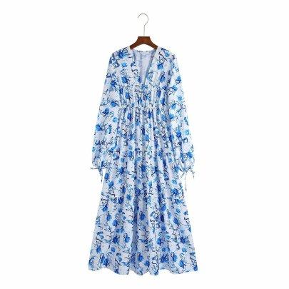 Women's Print Long Sleeve V-neck Dress Nihaostyles Clothing Wholesale NSAM77902