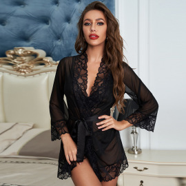 Women's Lace Cardigan Bra And Pantie Three-piece Pajamas Suit Nihaostyles Clothing Wholesale NSMDS77922