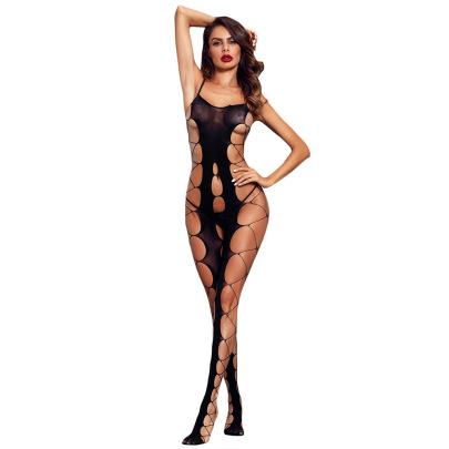Women's Fishnet Suspenders Hollow Lingerie Jumpsuit Nihaostyles Clothing Wholesale NSMDS77924
