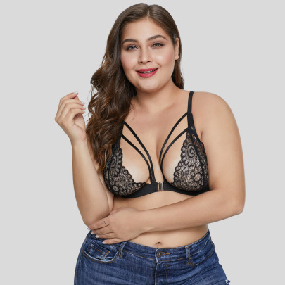 Women's Lace Black Floral Plus Size Underwear Nihaostyles Clothing Wholesale NSMDS77923