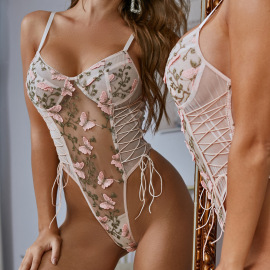 Woman's Small Lace Embroidery Lingerie Set Nihaostyles Wholesale Clothing NSRBL77935