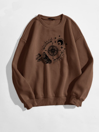 Women's Compass Mountain Moon Pattern Printing Round Neck Sweatshirt Nihaostyles Clothing Wholesale NSGMX77942