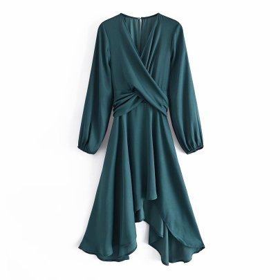 Women's Lace-up Long-sleeved Slim Dress Nihaostyles Clothing Wholesale NSAM77945