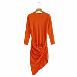 Women's Knotted Round Neck Long Sleeve Knit Dress Nihaostyles Clothing Wholesale NSAM77947