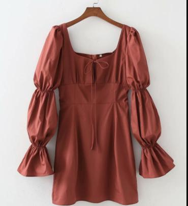 Women's Trumpet Sleeves Square Neck Dress Nihaostyles Clothing Wholesale NSAM77813