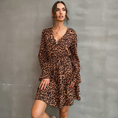Women's Trumpet Long-sleeved V-neck Leopard Print Dress Nihaostyles Clothing Wholesale NSDMB77981