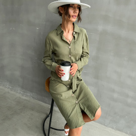 Women's Solid Color Long-sleeved Lapel Shirt Dress Nihaostyles Clothing Wholesale NSDMB77982
