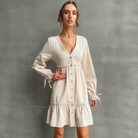 Women's Solid Color V-neck Button Long-sleeved Shirt Dress Nihaostyles Clothing Wholesale NSDMB77983