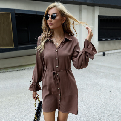 Women's Loose Solid Color Lapel With Lace-up Long Sleeve Shirt Dress Nihaostyles Clothing Wholesale NSDMB77984