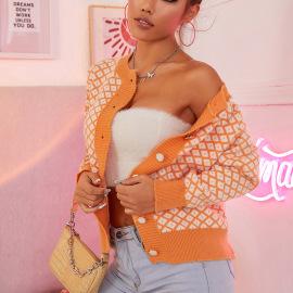 Women's Round Neck Square Diamond Long-sleeved Knit Cardigan Nihaostyles Clothing Wholesale NSJHK77991