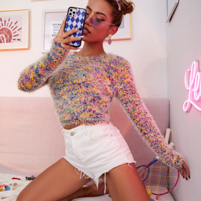 Women's Imitation Mink Velvet Pullover Loose Knit Sweater Nihaostyles Clothing Wholesale NSJHK77992