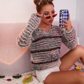 Women's Round Neck Imitation Mink Velvet Loose Striped Knitted Sweater Nihaostyles Clothing Wholesale NSJHK77998