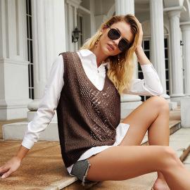 Women's V-neck Hook Flower Hollow Jacquard Loose Sleeveless Sweater Nihaostyles Clothing Wholesale NSJHK78002