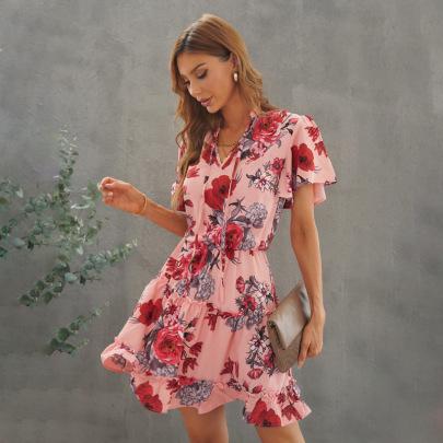Women's Loose Chiffon V-neck Ruffled Dress Nihaostyles Clothing Wholesale NSQSY78010