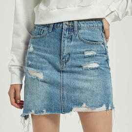 Women's Jean Skirt Hole Edging Bag Hip Skirt Nihaostyles Wholesale Clothing NSSY78030