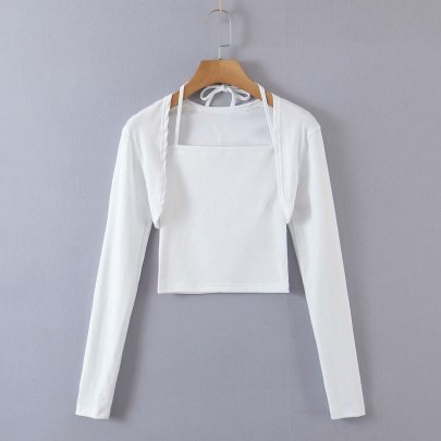 Women's Knitted Cropped Cardigan And Camisole Two-piece Set Nihaostyles Clothing Wholesale NSAM78062