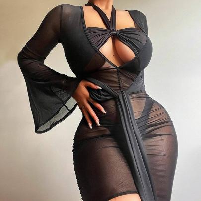 Women's V-neck Tie Trumpet Sleeve Folds Dress Nihaostyles Clothing Wholesale NSXPF78078