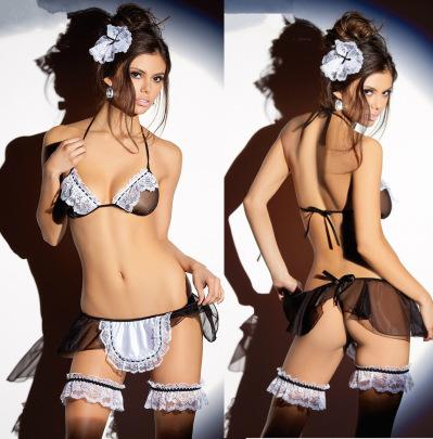 Women's Mesh Maid Uniform Sexy Lingerie  Nihaostyles Clothing Wholesale NSFQQ78118