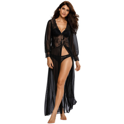 Women's Home Service Suits Lace Pajamas Women V-neck Lace Long-sleeved Nightgown Nihaostyles Wholesale Clothing NSMDS78127