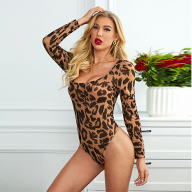 Women's Low-neck Leopard Printing Jumpsuit  Nihaostyles Wholesale Clothing NSMDS78132