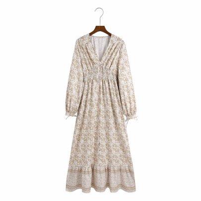 Women's Printing Long-sleeved V-neck Dress Nihaostyles Clothing Wholesale NSAM78146