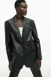 Women's Single-breasted Solid Color Imitation Leather Blazer Nihaostyles Clothing Wholesale NSAM78148