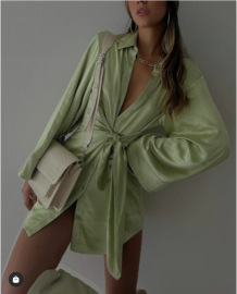 Women's Satin Waist Belt Flared Sleeve Dress Nihaostyles Clothing Wholesale NSAM78154